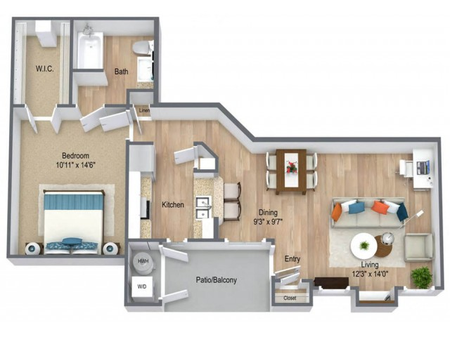 One Bedroom/ One Bath 713 sq feet