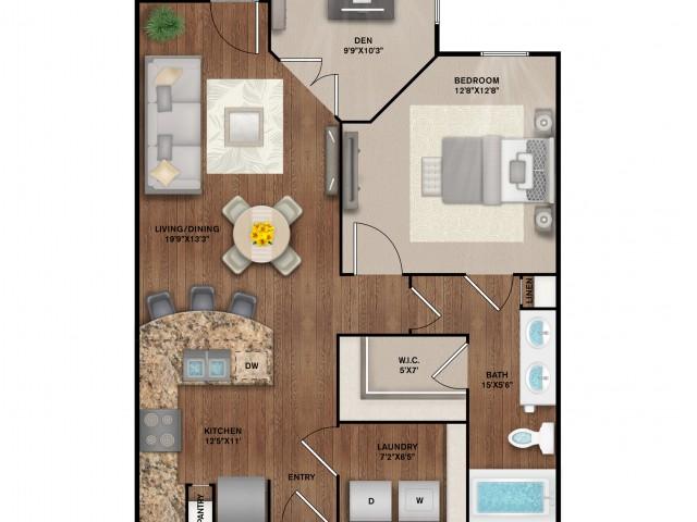 1x1 with Den Floor Plan