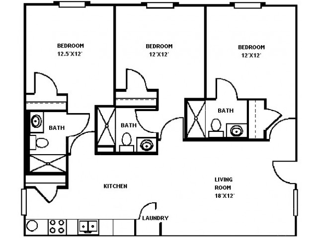 3 Bed 3 Bath Floor Plan