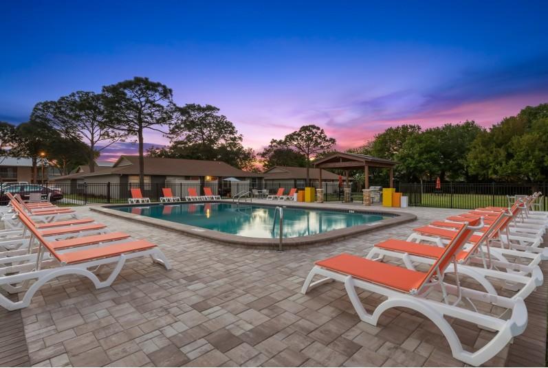 swimming pool, lounge chairs