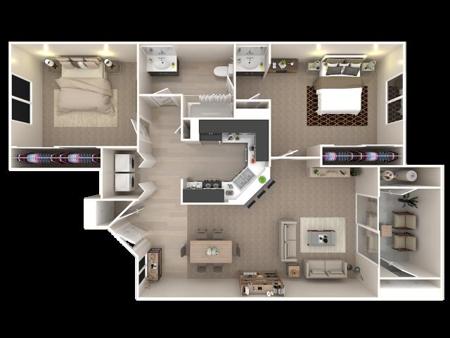 2 Bedroom; Upstairs