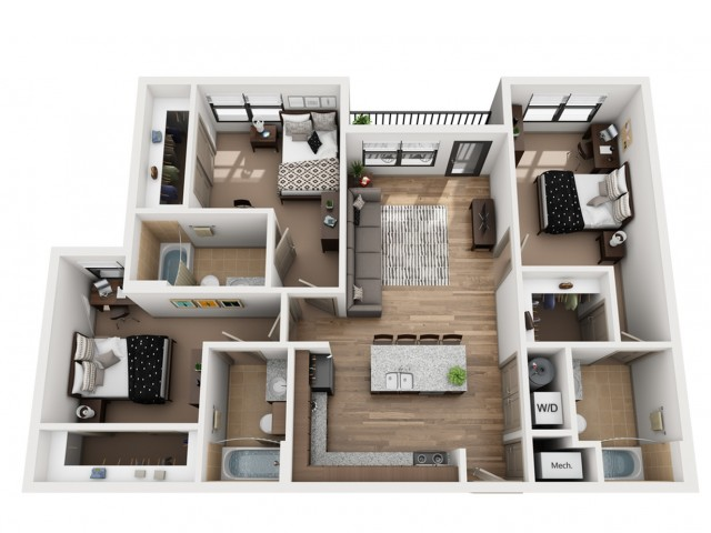 C3   3 bed 3 bath   from 1161 square feet