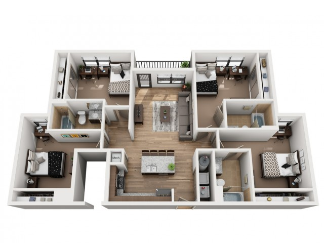 D3 | 4 bed 3 bath | from 1318 square feet