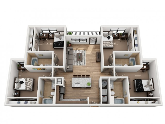 D4-A | 4 bed 4 bath | from 1368 square feet