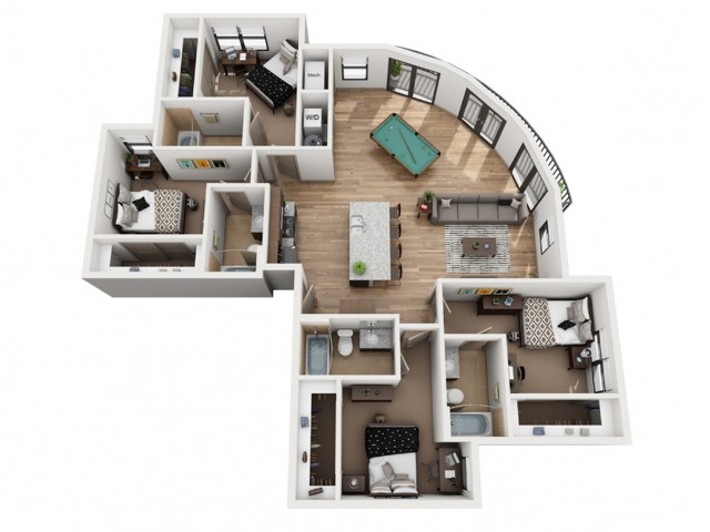 D4-B   4 bed 4 bath   from 1647 square feet