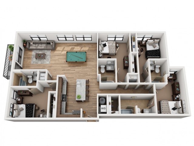 D4-C   4 bed 4 bath   from 1715 square feet