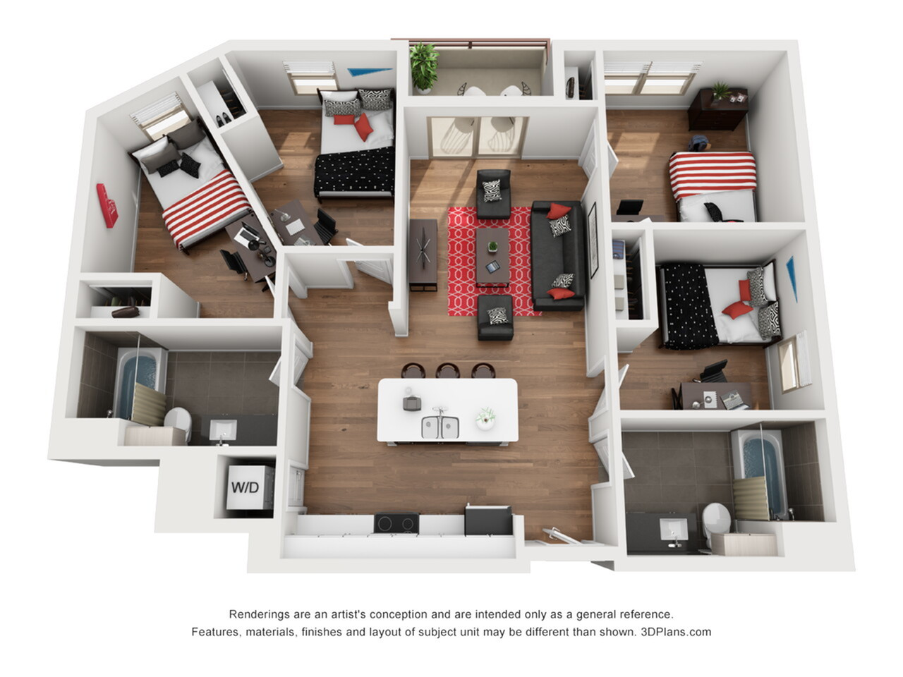 D2 | 4 bed 2 bath | from 1352 square feet
