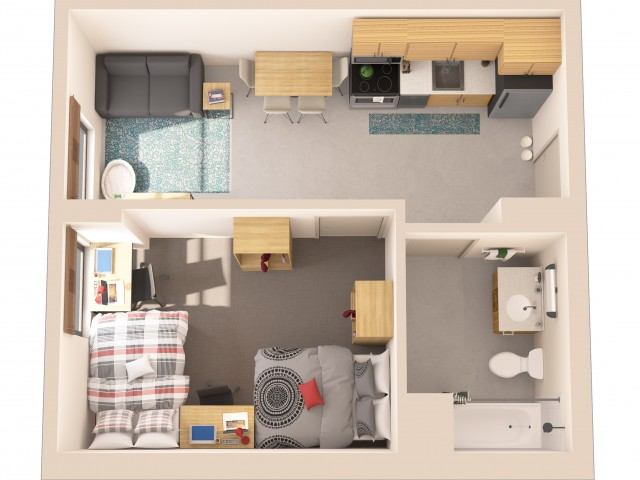 1x1   1 bed 1 bath   from 417 square feet
