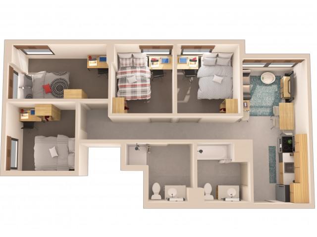 4x2   4 bed 2 bath   from 819 square feet
