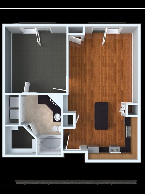 1x1U | 1 bed 1 bath | from 744 square feet