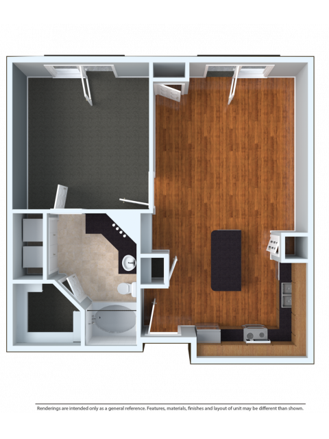 1x1 | 1 bed 1 bath | from 744 square feet