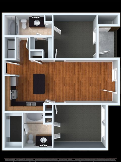 2x2U | 2 bed 2 bath | from 998 square feet