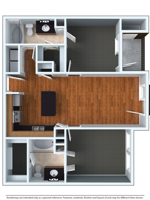 2x2L | 2 bed 2 bath | from 1142 square feet