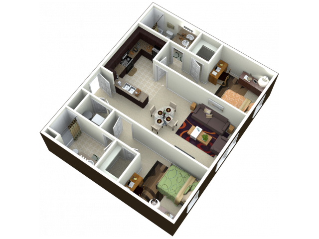 2X2 | 2 bed 2 bath | from 1006 square feet