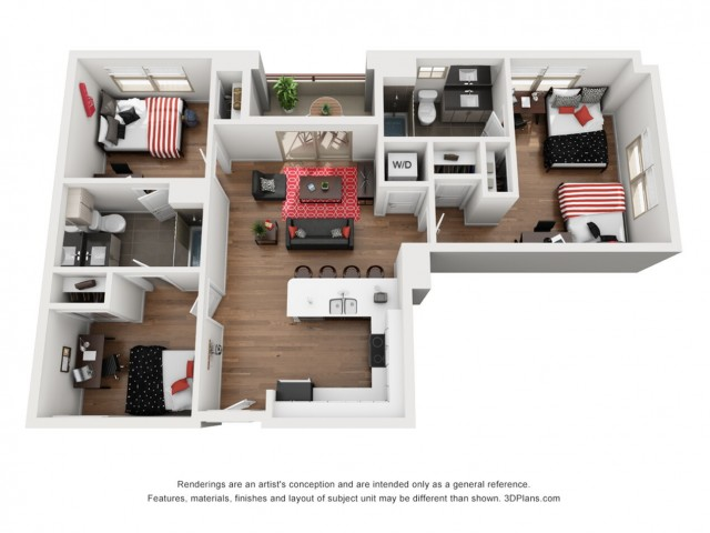 C2 | 3 bed 2 bath | from 1251 square feet