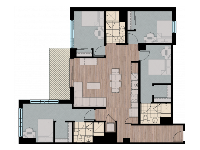 4X3   4 bed 3 bath   from 1409 square feet