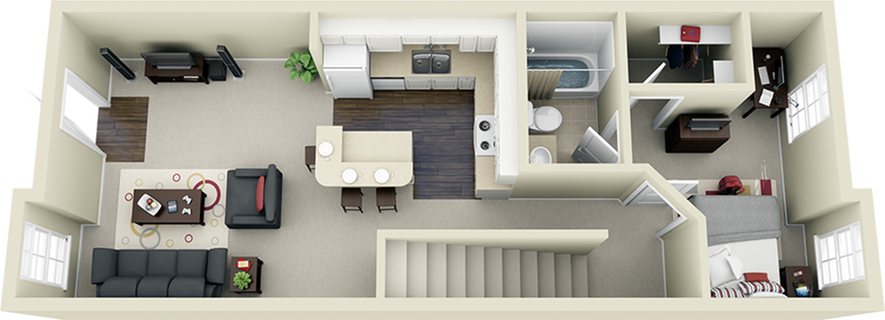 3x3 Townhome First Floor