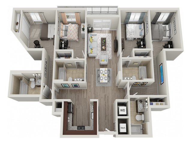 4X4I | 4 bed 4 bath | from 1360 square feet