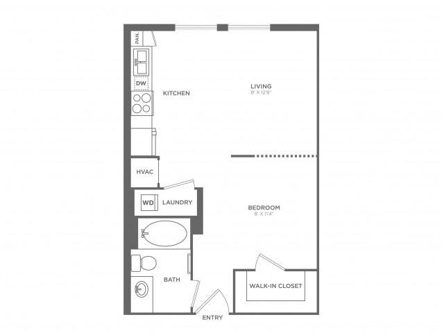 Warhol | Studio1 bath | from 540 square feet