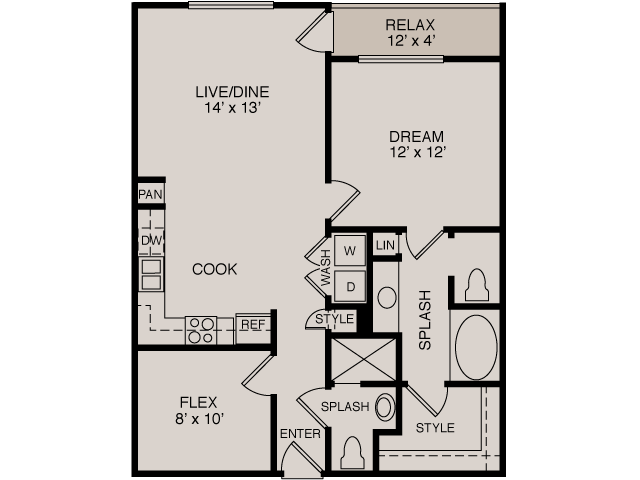 A1 1-2 Study | 1 bed 2 bath | from 864 square feet