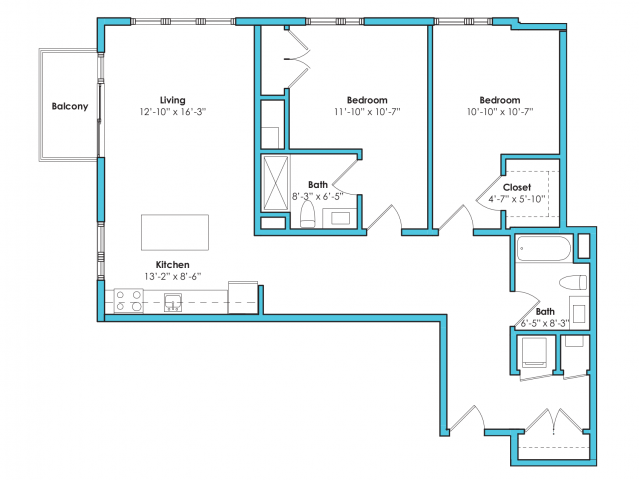 o-2c   2 bed 2 bath   from 1175 square feet