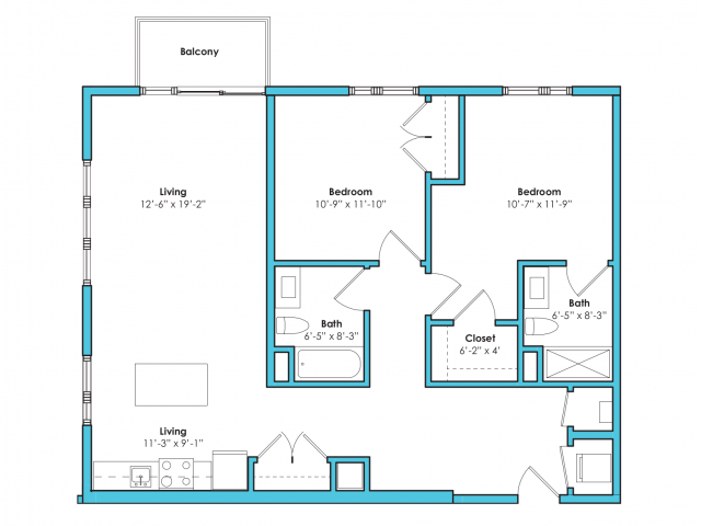 o-2d   2 bed 2 bath   from 1090 square feet