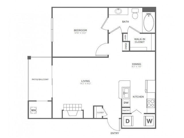 A2 | 1 bed 1 bath | from 782 square feet