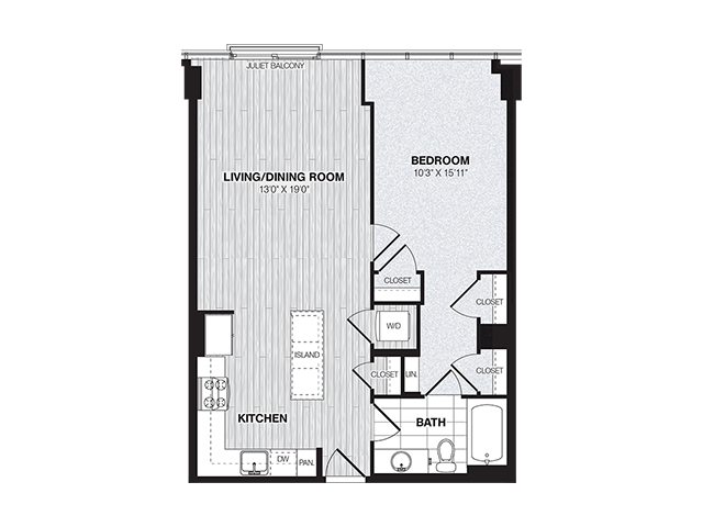 A2C | 1 bed 1 bath | from 765 square feet