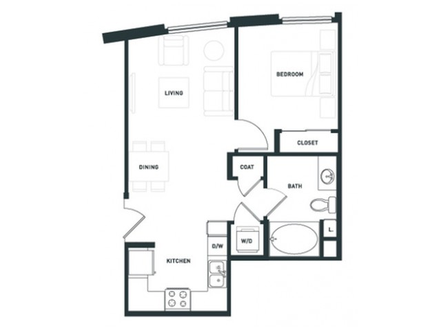 A1 | 1 bed 1 bath | from 576 square feet
