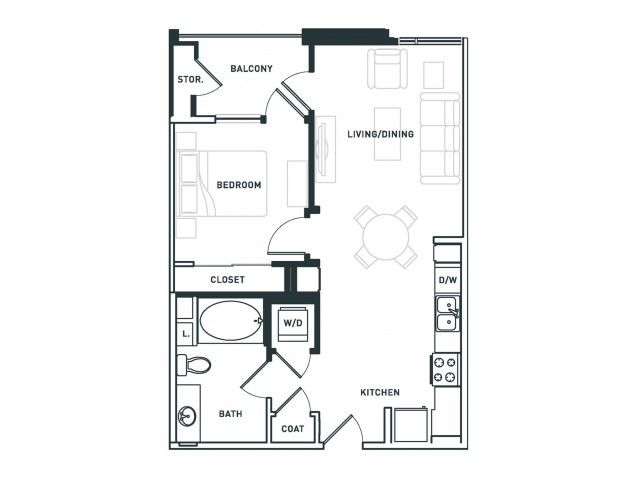 A2 | 1 bed 1 bath | from 650 square feet