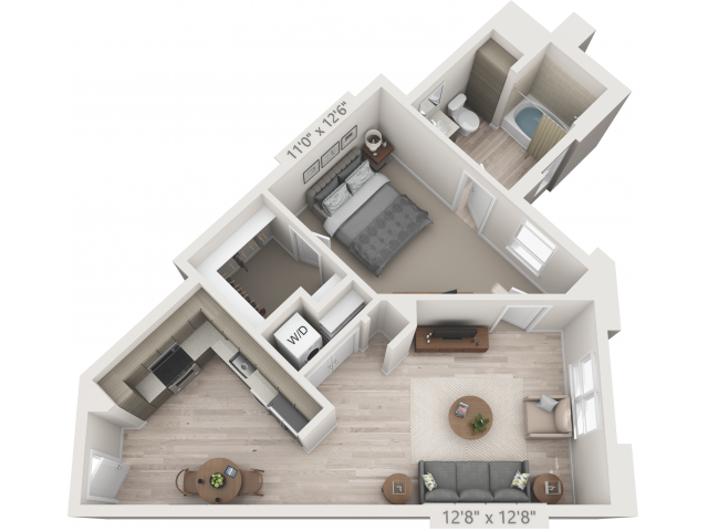 A7   1 bed 1 bath   from 693 square feet