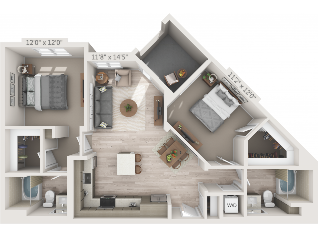 B1   2 bed 2 bath   from 1042 square feet