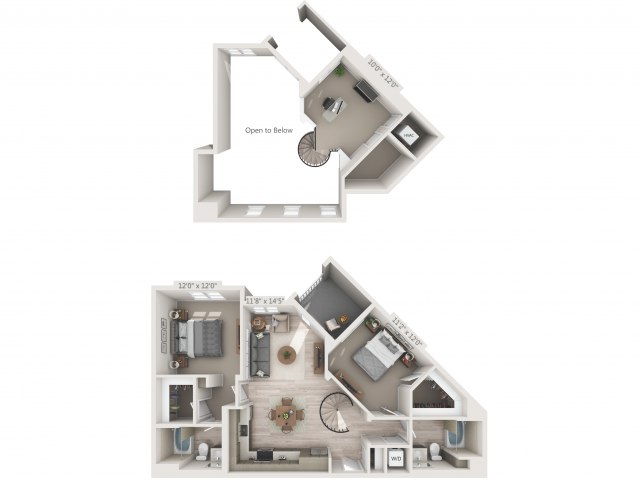 B1M   2 bed 2 bath   from 1159 square feet
