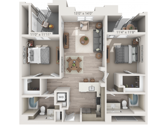 B2   2 bed 2 bath   from 1028 square feet