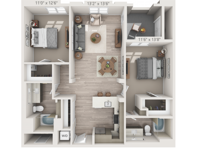 B3   2 bed 2 bath   from 1136 square feet