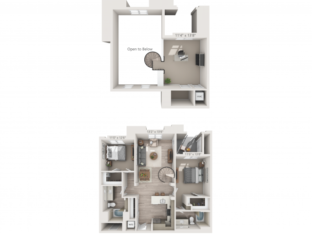 B3M   2 bed 2 bath   from 1292 square feet