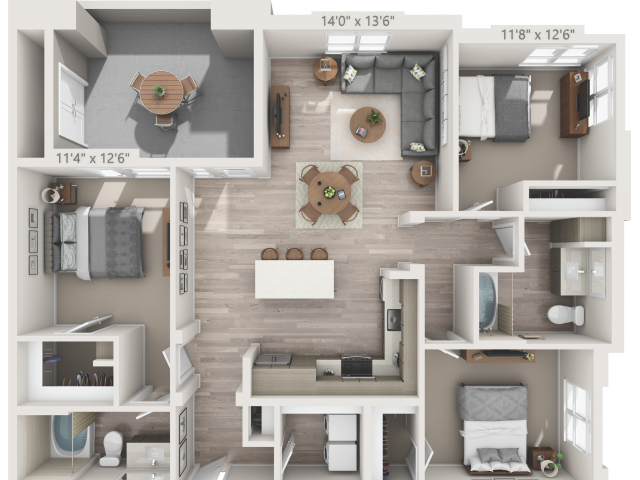 C1   3 bed 2 bath   from 1388 square feet