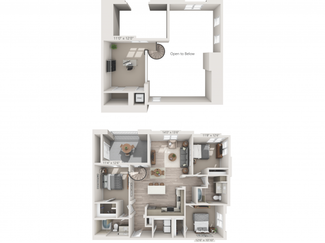 C1M   3 bed 2 bath   from 1517 square feet