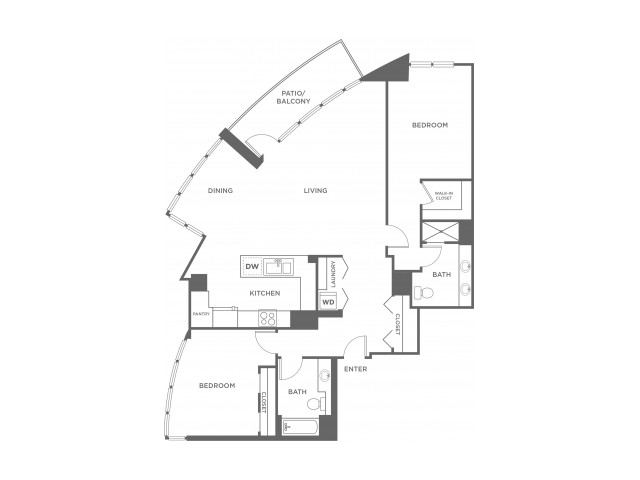Plan2 | 2 bed 2 bath | from 1374 square feet