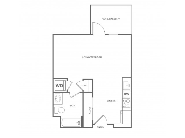 0a | Studio1 bath | from 516 square feet