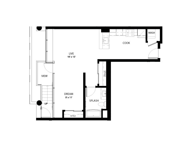 1AA | Studio1 bath | from 685 square feet