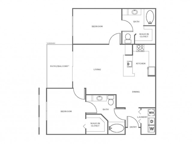 B3R | 2 bed 2 bath | from 1107 square feet