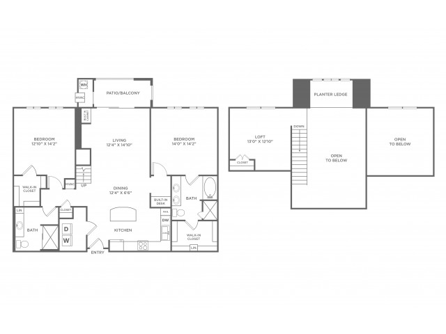 Reality Loft with Balcony | 2 bed 2 bath | from 1533 square feet