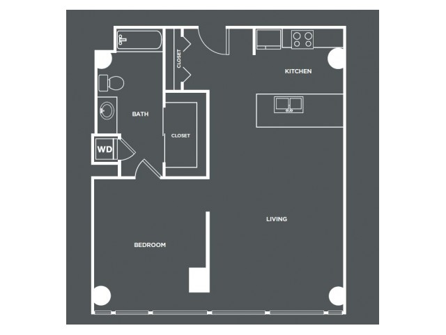 A18-R   1 bed 1 bath   from 847 square feet