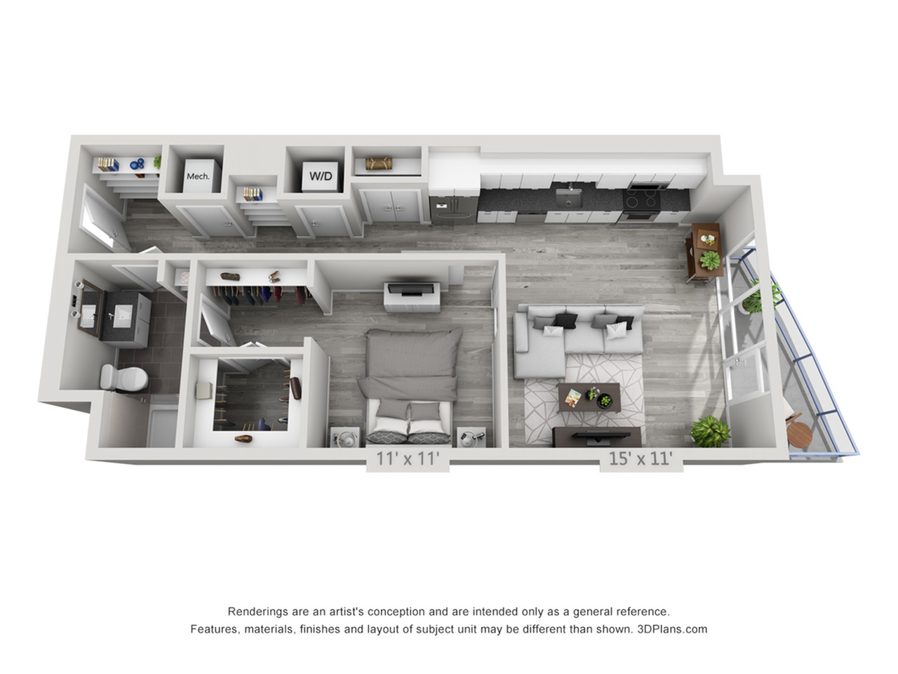 A1 | 1 bed 1 bath | from 772 square feet