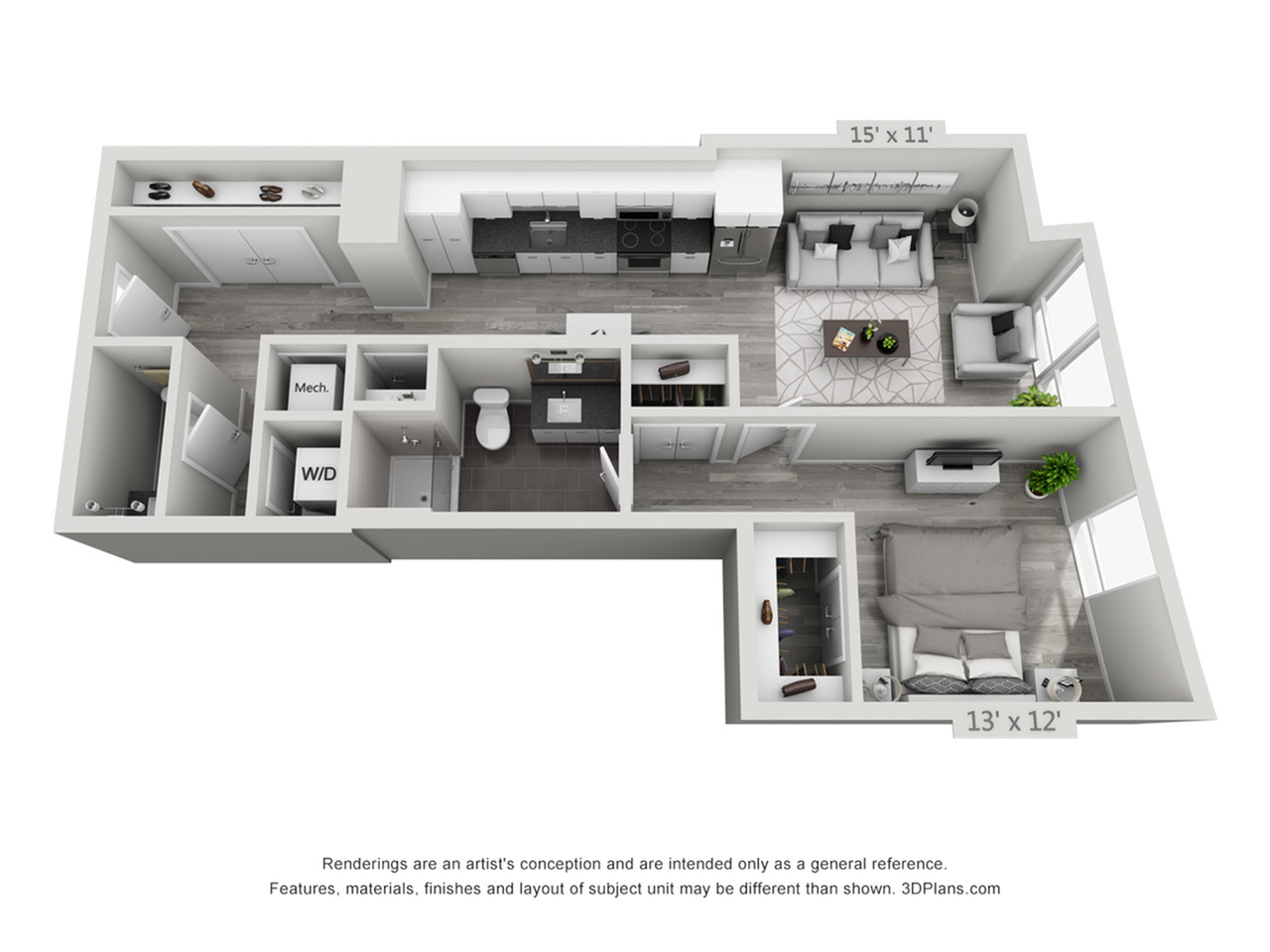 A2 | 1 bed 2 bath | from 822 square feet