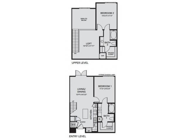 Plan B1 | 2 bed 2 bath | from 1289 square feet