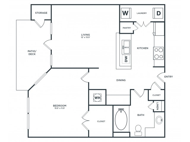 A1 | 1 bed 1 bath | from 725 square feet