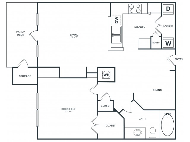 A2 | 1 bed 1 bath | from 866 square feet