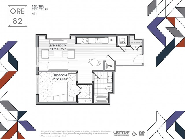 A11 | 1 bed 1 bath | from 720 square feet